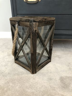 Large wood and glass lantern candle holder for Sale in Virginia Beach, VA