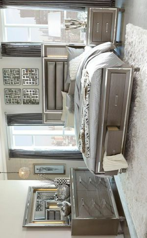 ☄Shock price☄Tamsin Metallic Silver/Gray LED Storage Platform Bedroom Set for Sale in Jessup, MD