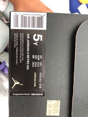Air Jordan 3 Retro GG Size 5 $50 for Sale in National City, CA