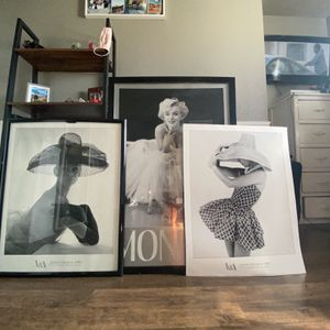 3 Black And White Fashion Photos. #Marilyn Monroe #decor for Sale in Fontana, CA