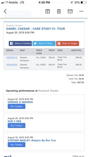 Daniel Caesar Case Study Tour Ticket for Sale in Beaverton, OR