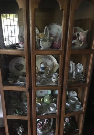 Antique china cabinet with my collection of tea cups English, German, Capadamante .... for Sale in Chula Vista, CA