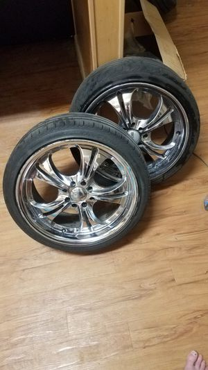 "17"" chrome rims tires new 1 rim needs repair for Sale in Denver, CO"