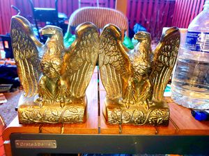Antique FIERCE Federal EAGLE Solid Brass Bookends Philadelphia Manufacturing Co. for Sale in Woodbridge, VA