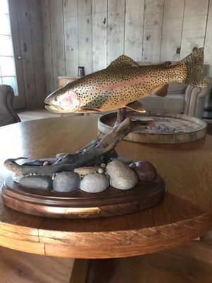 Beautiful hand carved wood rainbow trout by artist T. Shirm, year 2008. Gorgeous, realistic art piece. Paid $800, make offer. for Sale in Richland, WA