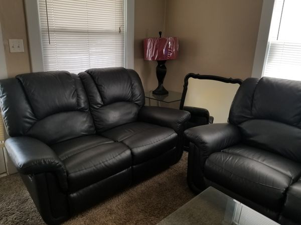 Reclining leather living room suit