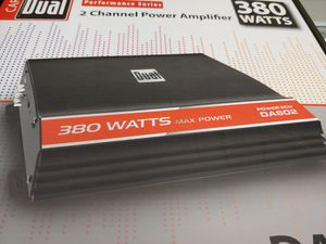 Car amplifier : Dual 380 watts 2 channel 2-4 ohm stable built in crossover 20 a fuse brand new for Sale in Santa Ana, CA