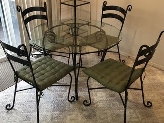 """42"""" Rod Iron And Glass Top 4 Chairs Matching Coffee Table A Mirror And Corner Stand for Sale in Sherwood,  OR"""