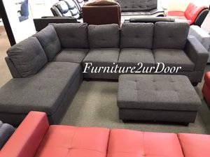 New Charcoal Fabric 3pc Sofa Sectional Couch & Ottoman - Financing Available for Sale in Riverside, CA