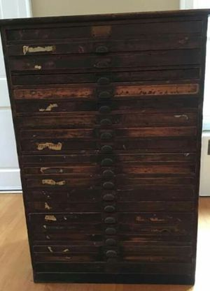 Antique 20 Drawer Map Chest / Printers Cabinet for Sale in Billerica, MA