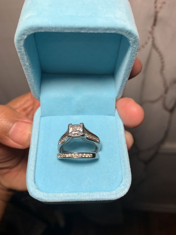 Ladies Sterling Silver Cubic Zirconia Wedding Rings