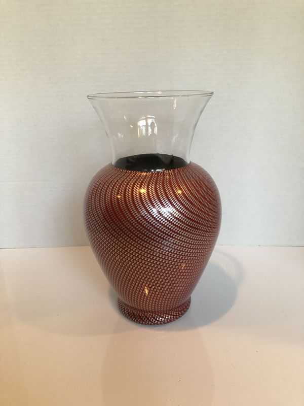 Burgundy and Silver Flower Vase