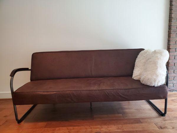 Farmhouse vintage faux leather futon
