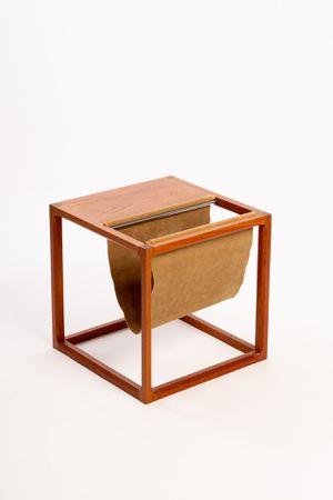 Vintage Kai Kristiansen for Aksel Kjersgaard Cube Magazine Table / Rack   Teak Wood   Made in Denmark for Sale in Peoria, AZ