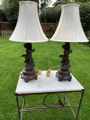 Beautiful Metal Cherub Lamps with Bell Shaped Shades for Sale in Portland, OR