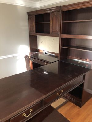 Cherry wood desk with filing cabinet & 2 bookshelves for Sale in Derwood, MD