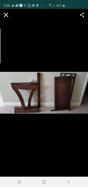 Costco used desk solid wood with glass top for Sale in Fresno, CA