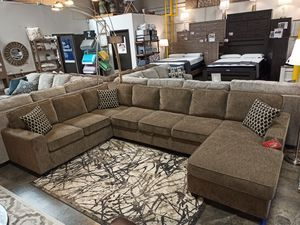 Microfiber Sectional Sofa with Storage Area, Brown for Sale in Santa Fe Springs, CA