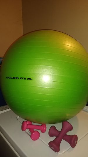 Gold's gym ball and 2 set's of pink weights for Sale in Upland, CA