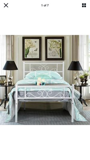 Twin Size Metal Bed Frame White Mattress Foundation with Headboard Footboard for Sale in Herndon, VA