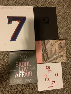 Five BTS albums with most of original and official merch/extras for Sale in Indianapolis, IN