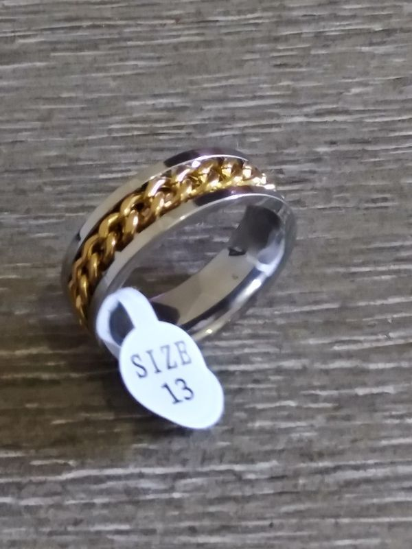 Silver gold chain stainless steel ring