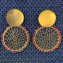 Gold earrings with red accents and made with beads for Sale in Miami,  FL