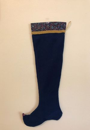 Unique Christmas stocking in blue velour & beaded elf toe for Sale in Columbia, MO