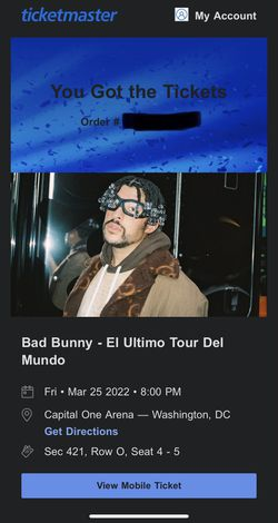 Bad Bunny Tickets ar Capital One Arena DC for Sale in Rockville, MD