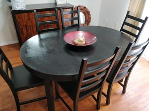 Solid wood dining table for 6-4 people with 6 chairs in very good condition, pet free smoke free. for Sale in Annandale, VA
