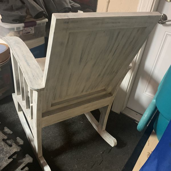 Wooden brushed pale blue rocking chair