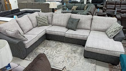 👨👩👧 Bilgray Pewter Sectional 👨👩👦 No Credit Check, ONLY $39 down / $1299 for Sale in Houston,  TX
