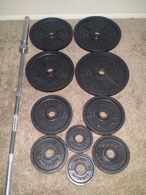 "Olympic 2"" iron weights. 260lbs weights. 4x45lbs, 2x25lbs, 2x10lbs, 2x5lbs. 7 foot 45lb Olympic barbell with 2 weight for Sale in Deerfield Beach, FL"