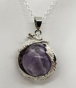 Natural Amethyst Silver Dragon Necklace for Sale in Fort Worth,  TX