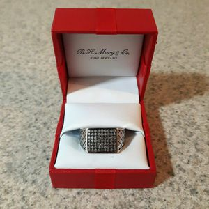 3/4 CT Grey Diamond Cluster & Italian Fine Silver Mens Ring - 50% OFF for Sale in South San Francisco, CA