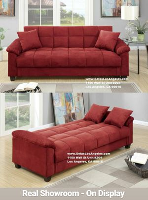 Real Showroom 😁 We Finance - Red Microfiber Couch Sofa Futon Bed for Sale in Los Alamitos, CA