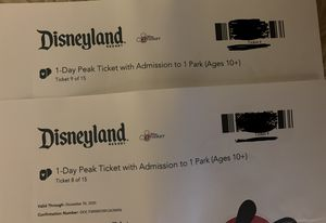 Disneyland 1-Day Peak Ticket (x2) for Sale in National City, CA