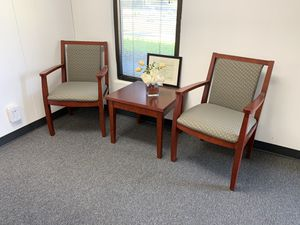 Office furniture - large executive desk - printer stand - receptionist desk - reception area chairs for Sale in Clovis, CA