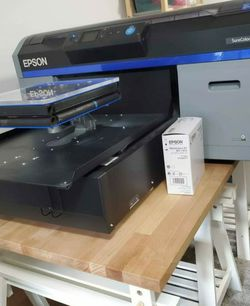 Epson F2100 DTG Printer - Stahls Hontronix Heat Press - 3 Platens - Almost full Epson pretreat - Ink for Sale in Vancouver,  WA