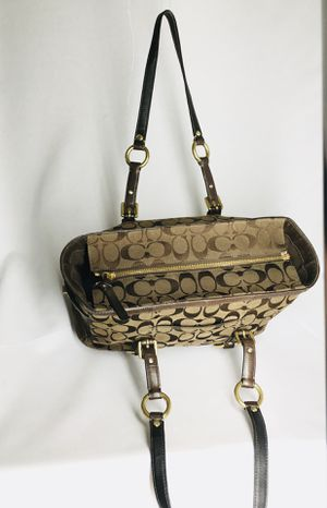 "Coach Authentic Signature C Purse / Tote with Leather Straps and Accents 8.5""x14.5"" straps 20"" for Sale in Carmichael, CA"