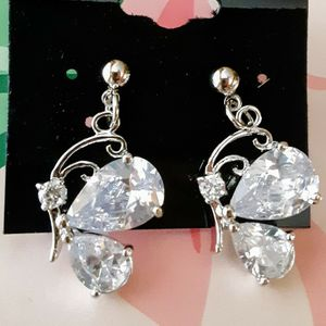 New silvertone acrylic and crystal butterfly post earrings for Sale in Fullerton, CA