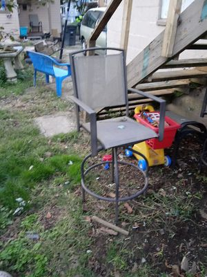 Outdoor furniture bar stool type chairs two of them and a glass-top table no umbrella $30 for Sale in Akron, OH