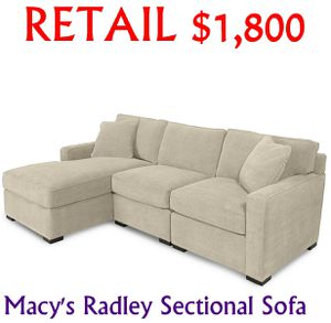 Macy's Radley Sectional Chaise Sofa Couch for Sale in New Carrollton, MD
