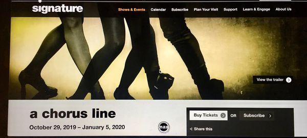 1 x A Chorus Line Ticket - Nov 21 2019 - Dress Circle Left Row DCB