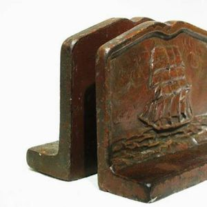 Pair Vintage Bronze Sail Boat Sea Ship Armada Bookends for Sale in Queens, NY