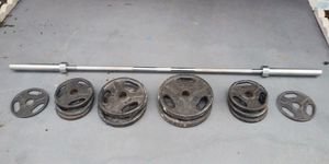 Cast Iron Olympic Weight Set 7 FT Chrome Bar 240LB for Sale in Clearwater, FL