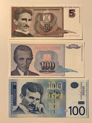 3 Nikola Tesla Dinar Set for $14. One Serbia Two Yugoslavia. Billetes, Tickets, Banknotes, Money, Currency. for Sale in Smyrna, GA
