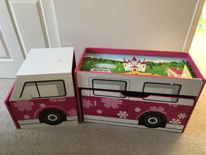 Girls kids 5-piece play center, desk, chair, and toy storage for Sale in Vancouver, WA