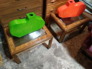 Pair of matching bevelled glass top end tables for sale for Sale in St. Louis, MO
