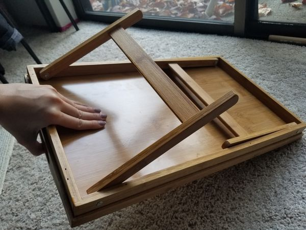 Folding breakfast tray